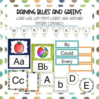 Word Wall Sight Words in Raining Blues and Greens {Editable!}