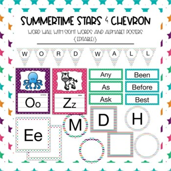 Word Wall Sight Words in Summer Time Stars and Chevron {Editable!}
