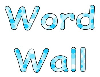 Word Wall Sign Blue Dots