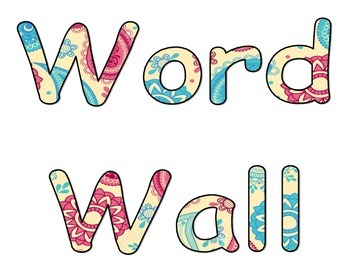 Word Wall Sign Pink and Blue Paisley