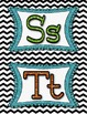 Word Wall Sign and Letters-Glitter/Black & White Chevron