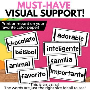 Spanish Cognates Los Cognados WORD WALL