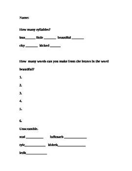 Word Wall Spelling Worksheets