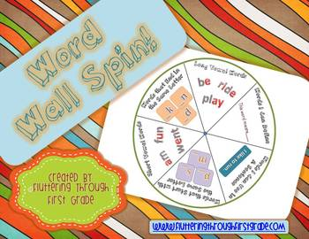 """Sight Word Activities """"Word Wall Spin"""" ~ A Differentiated"""