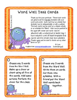 Word Wall Task Cards- Monster