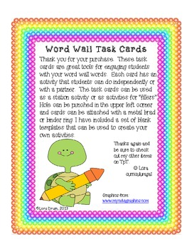 Word Wall Task Cards- Turtle theme
