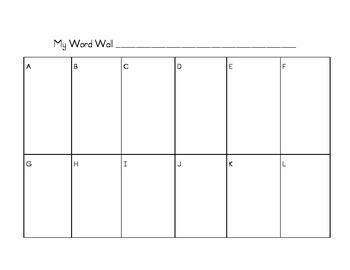 Word Wall Template for Students