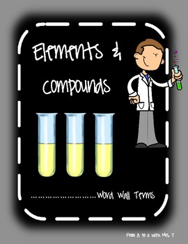 Word Wall Terms/Definitions/Pictures for Unit on Elements/Compounds