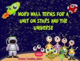 Word Wall Terms/Pictures for a Unit on Stars & the Universe