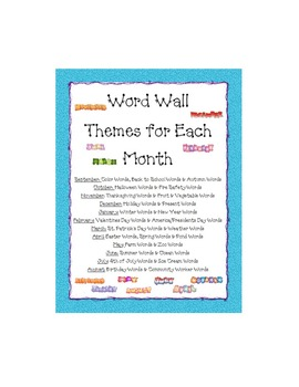 Word Wall Themes for Each Month