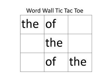Word Wall Tic Tac Toe