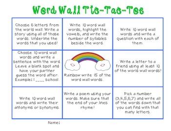 Word Wall Tic-Tac-Toe Literacy Station