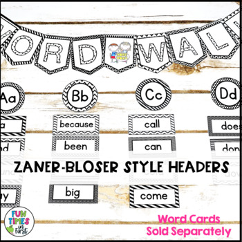 Word Wall Title Banner and Letter Headers {Black and White Theme}