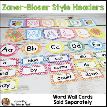 Word Wall Title Banner and Letter Headers {Chevron}