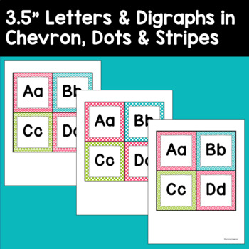 Word Wall Letters and Headers in Pink, Turquoise, and Lime Green