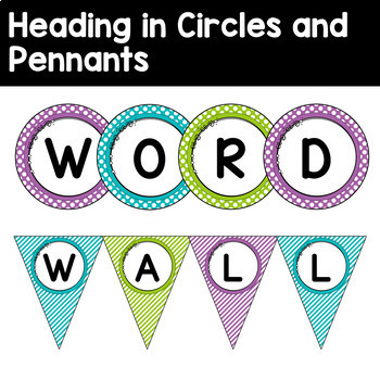 Word Wall Letters and Title in Purple, Turquoise & Lime Green