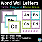 Word Wall Letter Headings and Title in Purple, Turquoise &