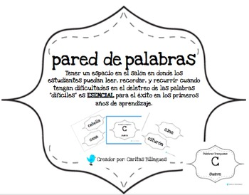 Word Wall, Tricky Words, Palabras Tramposas en Espanol