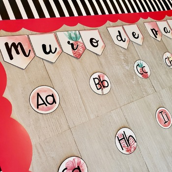 Word Wall Tropical Blues and Reds - Dual Language Classroom