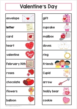 Valentine S Day Word Wall By Lavinia Pop Teachers Pay Teachers