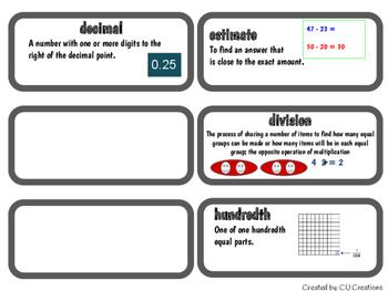 Word Wall Vocab Cards Go Math! Grade 5 Ch. 5