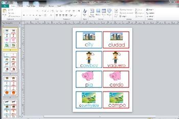 Rural Urban City Farm Vocabulary Cards Dual Language