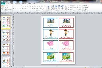 Rural Urban City Farm Vocabulary Cards Dual Language