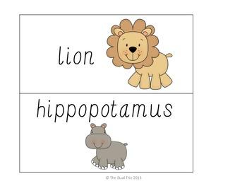 Word Wall Vocabulary Cards-Animals (English)