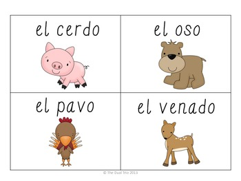 Word Wall Vocabulary Cards (Animals) in SPANISH