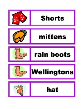 Word Wall Vocabulary Cards: Clothing