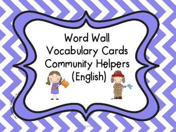 Word Wall Vocabulary Cards-Community Helpers (English)