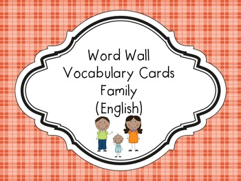 Word Wall Vocabulary Cards-Family (English)