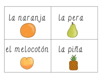 Word Wall Vocabulary Cards (Fruits) in Spanish