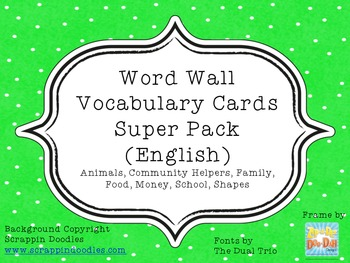 Word Wall Vocabulary Cards Super Pack (English)
