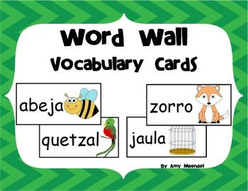 Word Wall Vocabulary Cards in Spanish