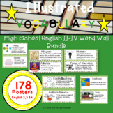 Word Wall Vocabulary Posters for High School English 2/3/4  Units | 178 Words!!!