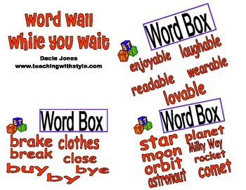 Word Wall While You Wait