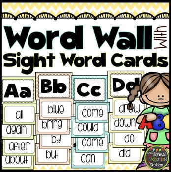 Word Wall With Editable Sight Word Cards {Chevron Classroom Set}