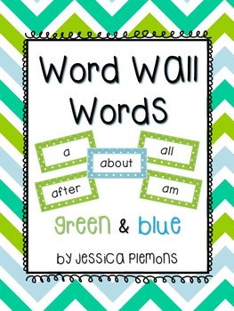 Word Wall Word Cards (200+): Blue & Green