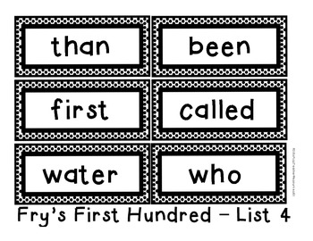 Sight Words Word Wall Cards - Fry's First 200 Words - Black & White Polka Dots