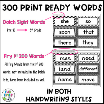 Word Wall Word Cards~ Black and White Theme (Editable)