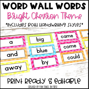 Word Wall Word Cards~ Bright Chevron Theme (Editable)