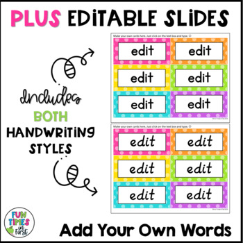 Word Wall Word Cards~ Bright Polka Dot Theme (Editable)
