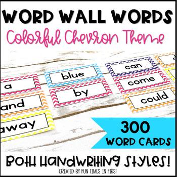 Word Wall Word Cards~ Chevron Theme (Editable)