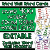 EDITABLE Interactive Word Wall Cards First 400 Sight Words
