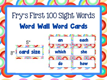 Word Wall Word Cards Fry's First 100 Sight words Primary colors dots