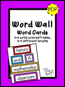 Word Wall Word Cards - Solid Colors