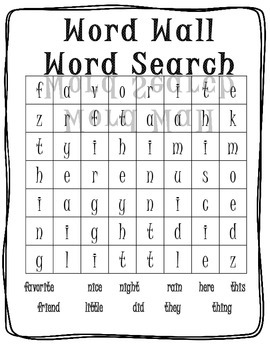 Word Wall Word Search - Easy
