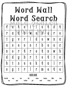 Word Wall Word Search - Hard