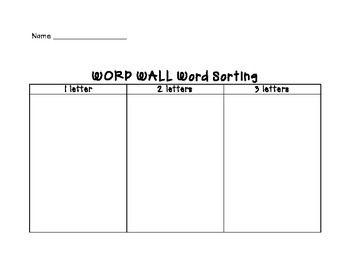 Word Wall Word Sorting